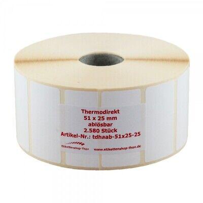 Thermo Etiketten auf Rolle 2.580 Stück 51 x 25 mm ABLÖSBAR