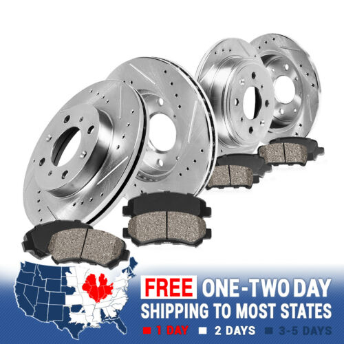 Front and Rear Brake Rotors /& Ceramic Pads For 1999 2000 2001 ELANTRA TIBRURON