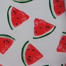 Sweatshirt knit jersey stretch cotton fabric watermelon on ivory fabric for kids