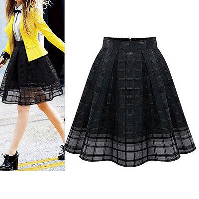 Women High Waist Chiffon Slim Skirt Ladies Organza Pleated Skirt Black