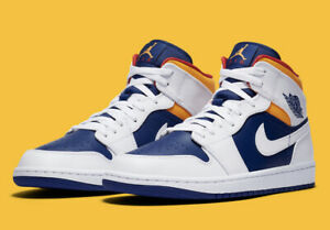 In-Hand-Nike-Air-Jordan-1-Mid-Royal-Yellow-554724-131-Mens-amp-GS-Free-Shipping