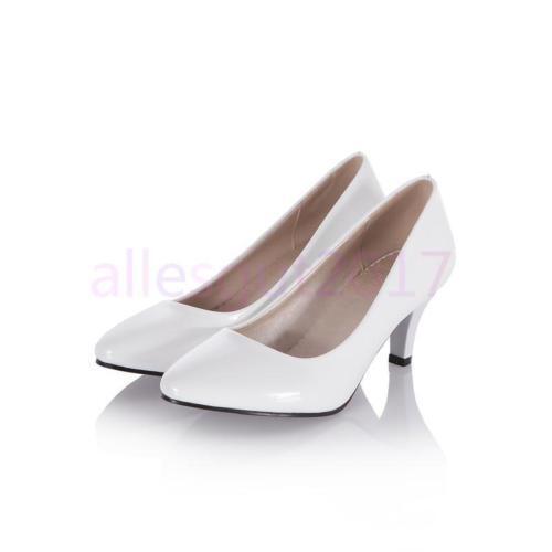 Volltonfarbe Damen Schuhe Lakeleder Spitze Pumps High Heels Gr:33.34-43