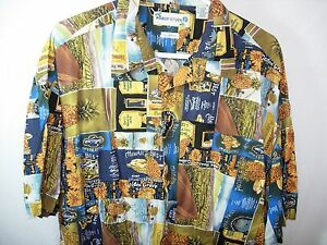 MENS-BLUE-GOLD-PINEAPPLE-ROBERT-STOCK-HAWAIIAN-ISLAND-ALOHA-SHIRT-SIZE-XL-52