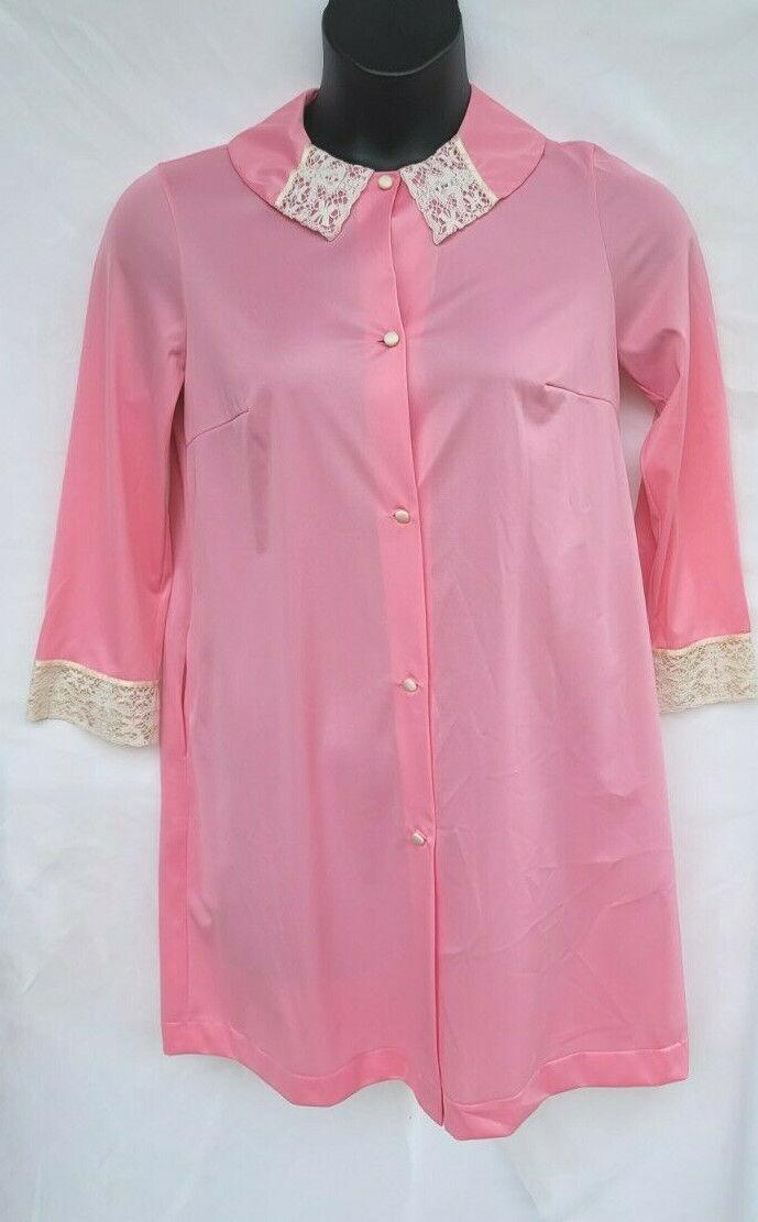 Vintage Vanity Fair Womens Size 32 Housecoat Robe Pink Lace Side Pocket