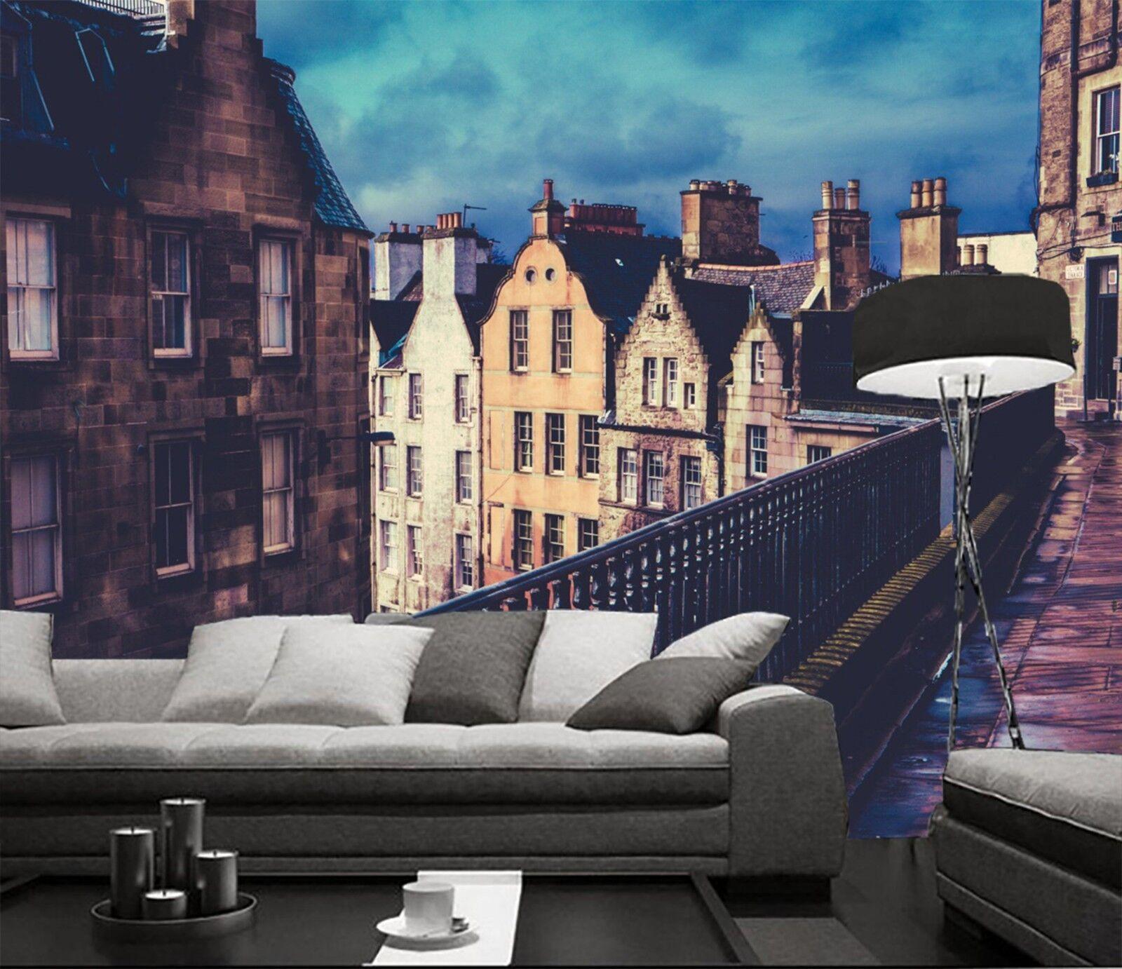 3D Stadt Haus Korridor 8367 Tapete Wandgemälde Tapeten Bild Familie DE Lemon