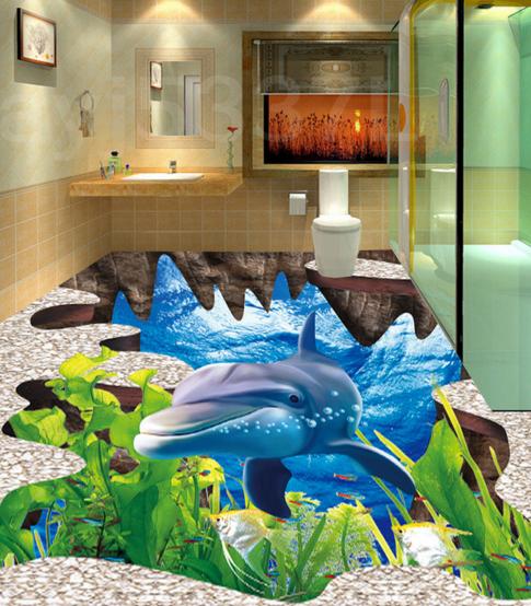 3D Cute Dolphin 43 Floor WallPaper Murals Wall Print Decal 5D AJ WALLPAPER AU