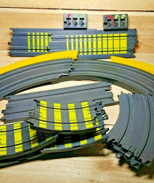 TYCO Slot Car DAMAGED Track Lot Yellow Terminal Transition Straight Curved