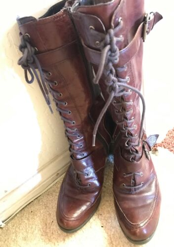 Nine West Lace up knee high brown leather boots