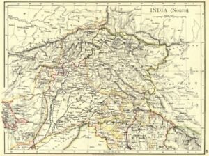 1897 Old Antique Vintage Map Plan Chart north India India