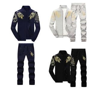2X-Set-Men-Tracksuit-Sport-Suit-Casual-Jogging-Athletic-Jacket-Pants-Sportswear