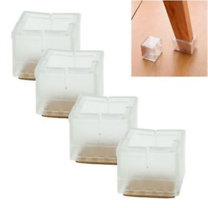 4pcs Square Chair Leg Caps Rubber Feet Protector Covers