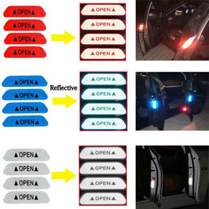 Blue 4X Car Door Open Anti-collision Reflective Sticker Safety Warning Decal