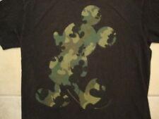 Walt Disney Mickey Mouse Camo Silhouette Artwork Cartoon Legend Black T Shirt M