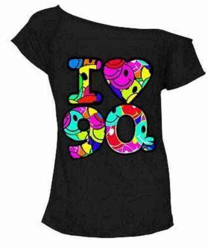 Ladies Multi I Love the 90s Fancy Dress  Hen Party Retro Festival T-Shirt Top