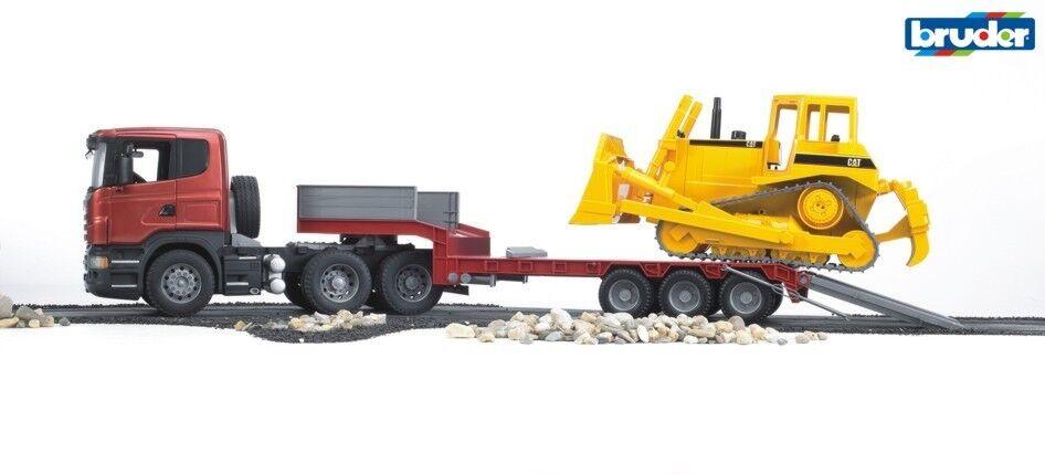 Bruder 03555 SCANIA R Serie LKW mit Tieflader und CAT Bulldozer 1:16