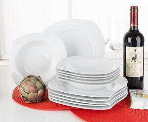 12 tlg tafelservice tafelgeschirr geschirrset 6 personen porzellan wei nowell ebay. Black Bedroom Furniture Sets. Home Design Ideas