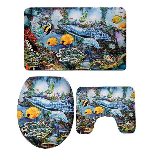 Flannel NonSlip Toilet Foot Pad Seat Cover Bathroom Rug Bath Mat Set 3D Fish