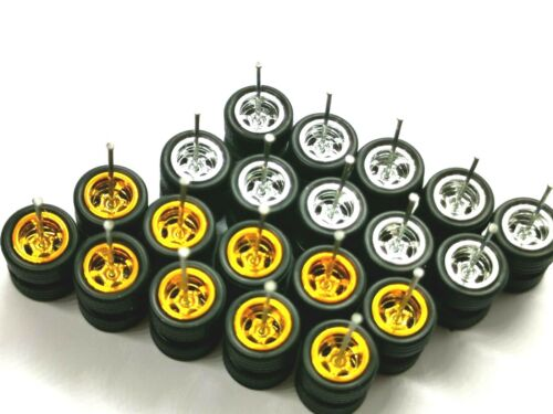HOT WHEELS REAL RIDERS WHEELS RUBBER TIRES 5 SPOKE 10MM 10 SETS GOLD Promo