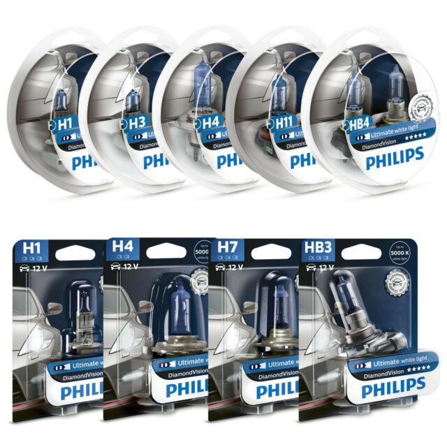 Philips Diamond Vision 5000K Styling Headlight Globes H1 H3 H4 H7 H11 HB3 HB4