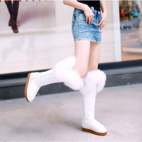 winter ladies Over the Knee High  Snow Boots Tall Fox fur Fur Lined Suede cover