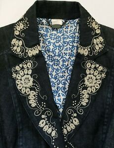 Tommy-Bahama-Long-Denim-Jacket-Floral-Heavy-Embroidered-Women-039-s-Small