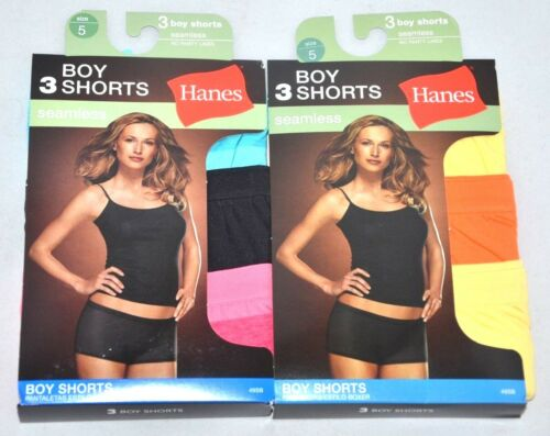 NEW Lot Of 6 Pairs Hanes Boy Shorts Seamless Size 5//Small No Panty Lines DEAL