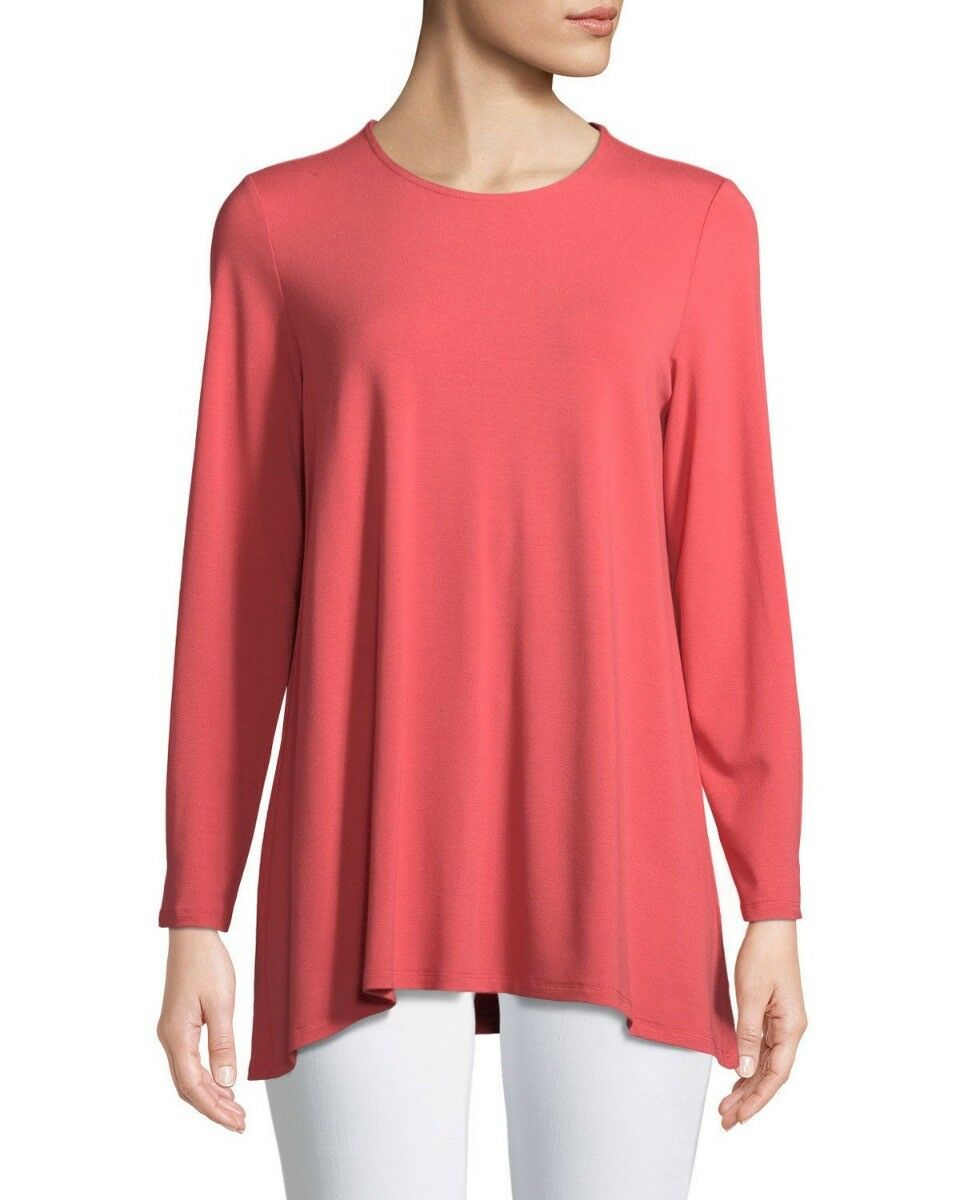 Eileen Fisher Viscose Jersey Mimosa Coral Round Neck Tunic Top S NWT