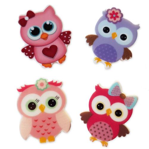 4pcs Cute Owls Planar Acrylic Flatback Cabochons Embellishment Decoden Craft