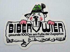 Souvenir-Aufkleber Biberwier Reutte Tirol Austria Zugspitze Weather Stone 80er