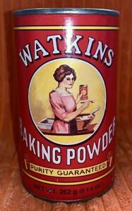 Details about Vintage Watkins Baking Powder Tin top container decorative  Made In U S A