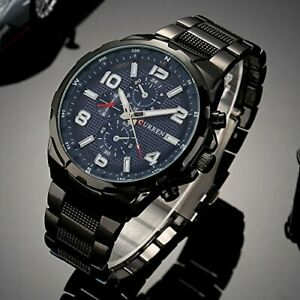 Orologio-Da-Polso-Curren-8276-Uomo-Analogico-Quarzo-Business-Nero-Blu-lac