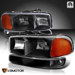 1999-2006-GMC-Sierra-Yukon-Black-Headlights-Bumper-Signal-Lights-Left-Right-4PC