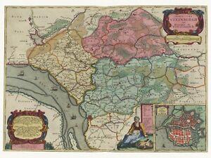 Alte-Steinburg-Glueckstadt-Deutschland-Landkarte-Blaeu-ca-1655-Papier-Leinwand