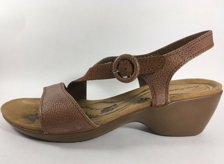 Hush Shoes Puppies Brown Leather Sandals Comfort Shoes Hush Women's 9 Medium Slingback 6f046d
