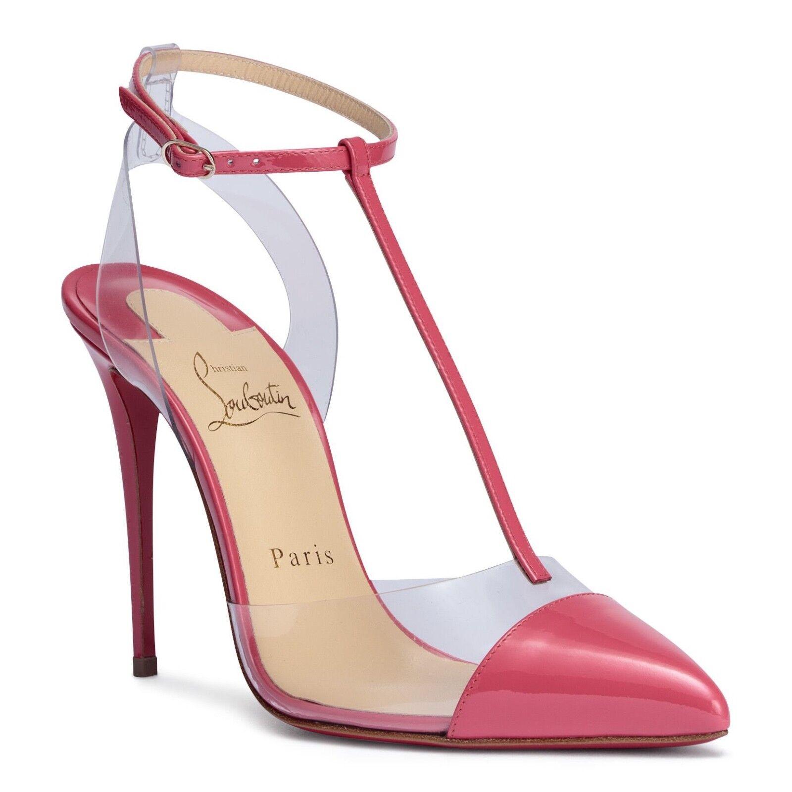 NIB Christian Louboutin Nosy 100 Pink Begonia PVC T Strap Patent Heel Pump 41