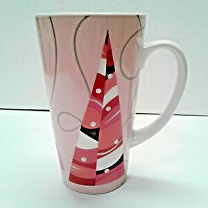 Starbucks Coffee 2004 Tall Latte Mug Pink Christmas Holiday Trees 16 oz Cup
