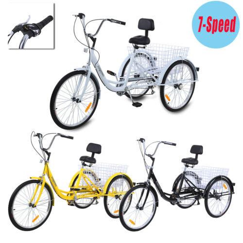 Ridgeyard 24/'/' 3 Wheel Unisex Adult Tricycle Trike Cruise 7 speed Backrest