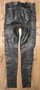 "coole SCHNÜR- LEDERJEANS / Biker- Lederhose in schwarz ca. W28""-29""/ L33"""