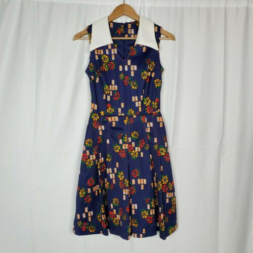 Vintage 60s Act I New York Collared Floral Print S
