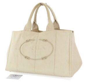 Authentic-PRADA-Gray-Canapa-Canvas-Tote-Shoulder-Bag-Purse-33763