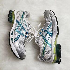 Women-6-Asics-Gel-Kinetic-3-Shoes-White-Gray-Silver-Blue-Running-Cross-Training