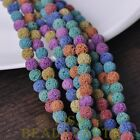 30pcs 8mm Lava Stone Natural Gemstone Charms Round Loose Spacer Beads Colorful