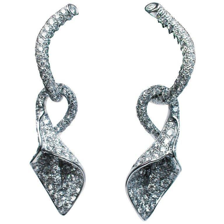 ASPREY 18 Karat White Gold and Diamond Floral Drop Earrings