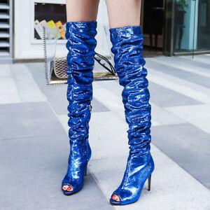 Sequins-Women-039-s-Sexy-Bling-Over-The-Knee-Boots-Peep-Toe-Stilettos-Shoes-Side-Zip