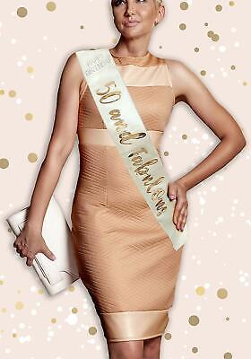 Cream /& Rose Gold Metallic Diamante BIRTHDAY GIRL Sash Holographic Happy RGS-BG