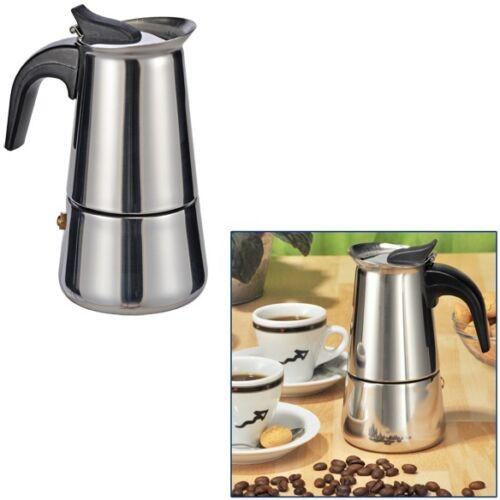 Espresso réchaud réchaud pour 2 tasses expresso en acier inoxydable avec poignée en plastique