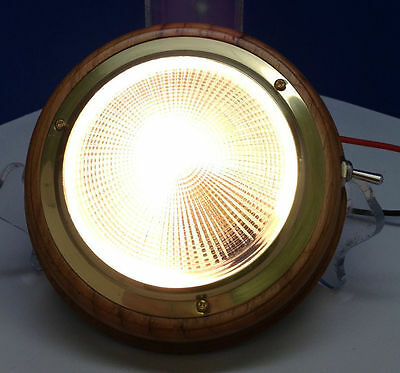 "Marine Boat Warm White 4/"" Dome Light Bulb Brass Ring Teak Base PC Lens Toggle"
