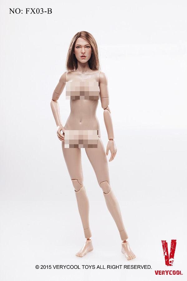 1/6 juguetes muy fresco FX03B con cuerpo femenino VC 3.0 cabeza esculpida de Cabello Castaño