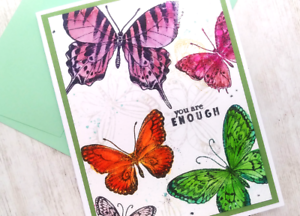 Handmade Greeting Card You are Enough Encourage Butterflies A2 Size w/ Envelope
