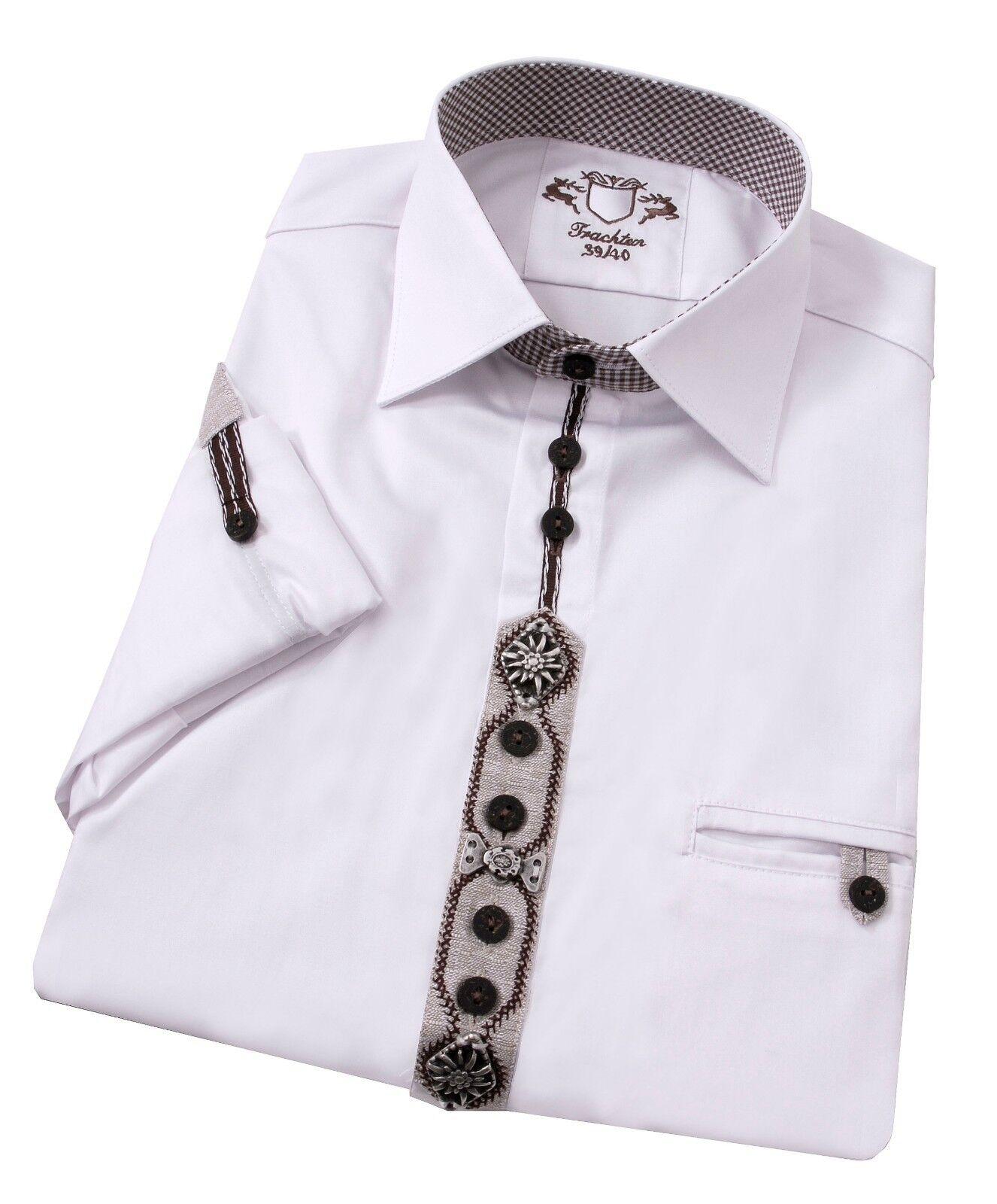 Trachtenhemd Herrenhemd Herren Langarm Kurzarm Komfort Reine Baumwolle Weiß
